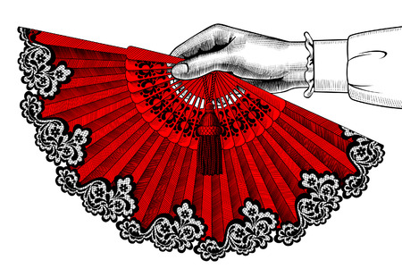 Female hand with red open fan. Vintage engraving stylized drawing. Vector illustration Illusztráció