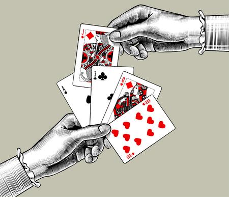 Vrouw handen met speelkaarten fan. Vintage gravure gestileerde tekening. Vector illustratie