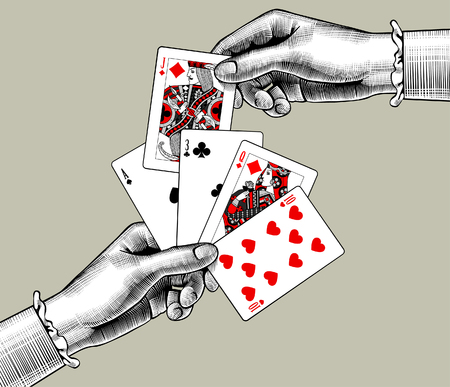 Woman's hands with playing cards fan. Vintage engraving stylized drawing. Vector illustration 스톡 콘텐츠 - 104236751