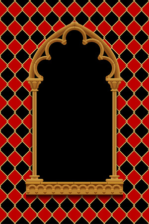 Classic gothic decorative frame on red and black rhomboids background with gold wire grid. Vintage design element, cover and poster template. Vector 