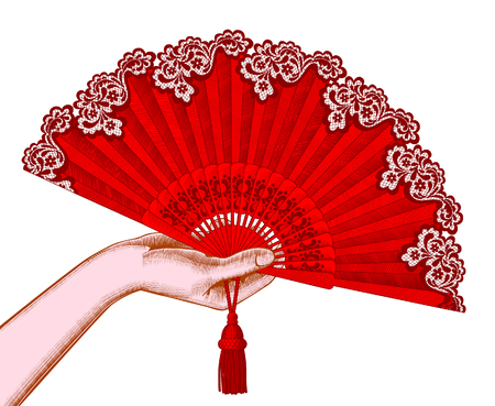 Female hand with red open fan. Vintage engraving stylized drawing. Vector illustration