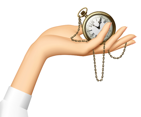 Womans hand holding a retro pocket watch with chainlet. Vector vintage Illustration