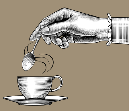 Woman's hand with a coffee cup and spoon. Vintage stylized drawing. Vector illustration