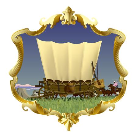 Marco dorado vintage con vagón cubierto del salvaje oeste en la pradera americana. Ilustración vectorial