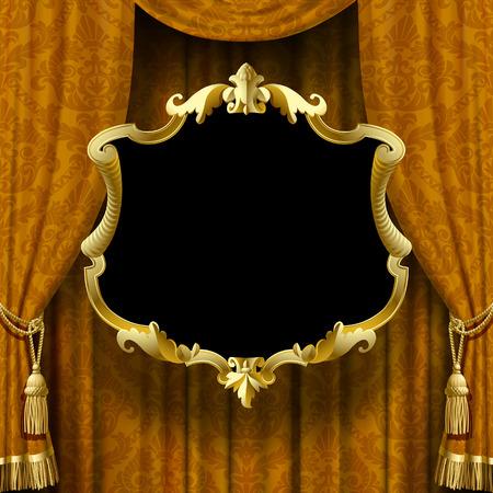 Immagine vettoriale della tenda giallo-marrone con ornamento barocco e cornice. Sfondo vintage quadrato con segno. Poster artistico