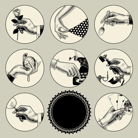 Conjunto de imágenes redondas en estilo vintage grabado con partes del cuerpo y accesorios. Iconos de negocios retro. Ilustración vectorial