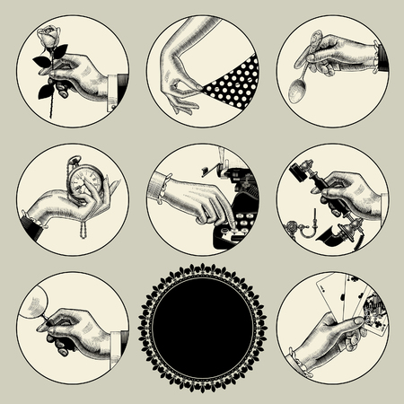 Set of round images in vintage engraving style with body parts and accessories. Retro business icons. Vector illustration