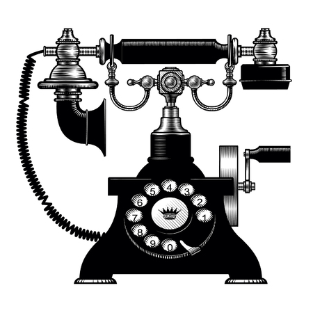 Retro black phone. Vintage engraving stylized drawing. Vector illustration Иллюстрация