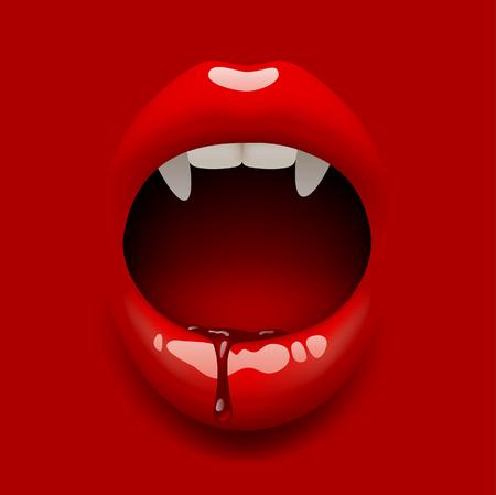 Offener Mund des Vampirs der Frau mit glänzenden Lippen und Blut auf Rot. Vektorillustration