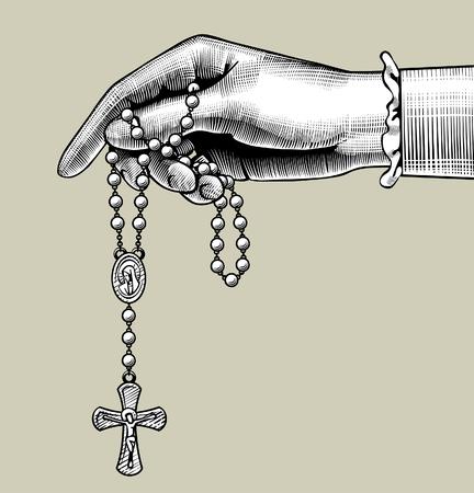 Vrouwenhand met gebedskralen. Vintage gravure gestileerde tekening. vector illustratie