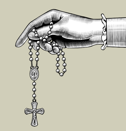 Womans hand with prayer beads. Vintage engraving stylized drawing. Vector illustration Ilustração
