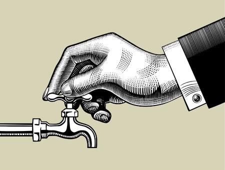 Ouverture du robinet d'eau à la main. Dessin stylisé vintage. Illustration vectorielle