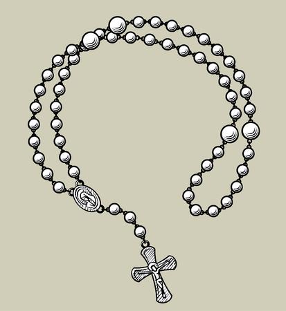 Prayer beads round frame. Vintage engraving stylized drawing. Vector illustration