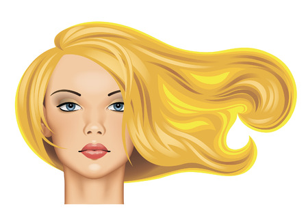 Head of a pretty blonde girl with long fluttering hair in sunlight isolated on white. Vector illustration Иллюстрация