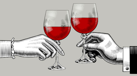 Hände von Mann und Frau klirren Gläser mit Rotwein. Vintage Gravur stilisierte Zeichnung. Vektorillustration