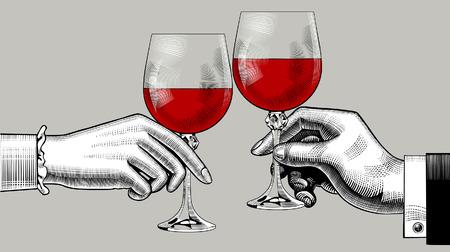 Manos de hombre y mujer tintinean vasos con vino tinto. Dibujo estilizado de grabado vintage. Ilustración vectorial