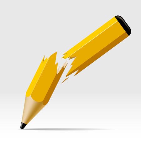 Gebrochener Bleistift auf Weiß. Fehlerkonzeptsymbol. Vektorillustration