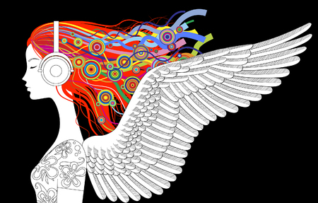 Linear drawing of girl head half-face with wings and color loose hair listen to music with head-phones. Vector illustration