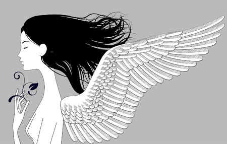 Linear drawing of naked girl head half-face with wings and black loose hair. Vector illustration