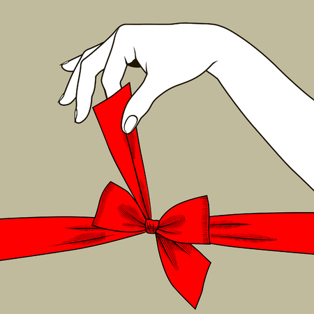 Woman's hand untying bow of red ribbon. Vintage stylized drawing. Vector illustration