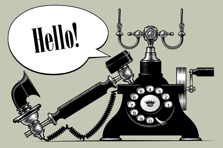 Retro black phone with a Speech Balloon. Vintage engraving stylized drawing. Vector illustration Vectores
