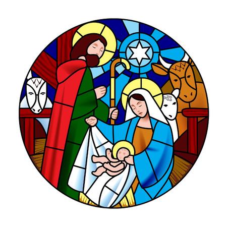 Forma circolare con scena della nascita di Gesù Cristo in stile vetro colorato. Simbolo e icona di Natale. Illustrazione vettoriale Vettoriali