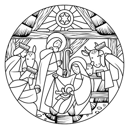 Birth of Jesus Christ scene in circle shape. Linear drawing for coloring book. Vector illustration
