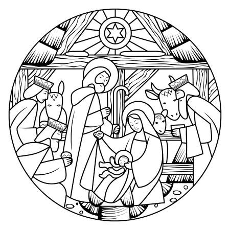 Scena della nascita di Gesù Cristo a forma di cerchio. Disegno lineare per libro da colorare. Illustrazione vettoriale