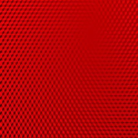 Fondo de forma isométrica abstracta roja reflectante de vehículo. Patrón de cubos rojos. Ilustración vectorial