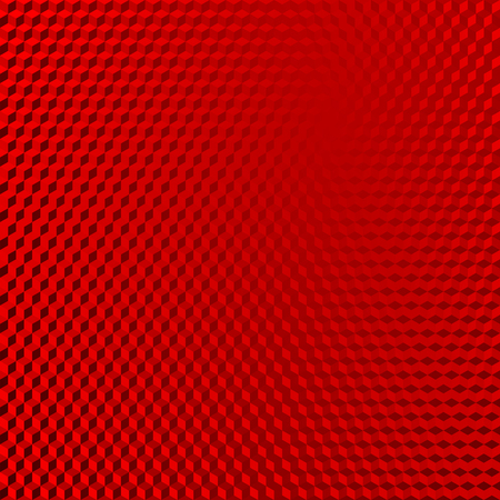 Vehicle reflective red abstract isometric shape background. Red cubes pattern. Vector illustration