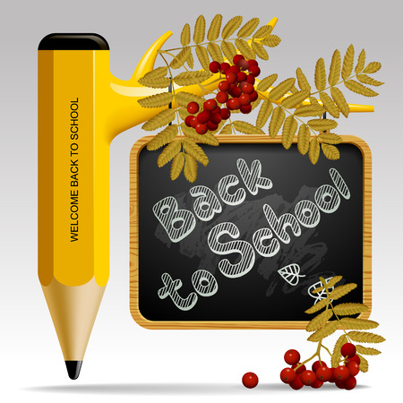 Back to school design with pencil as tree, leaves, rowan berries and suspended blackboard. Education sign and symbol. Vector illustration