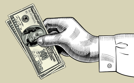 Hand of man holding 100 dollars bank notes. Vintage engraving stylized drawing. Vector illustration
