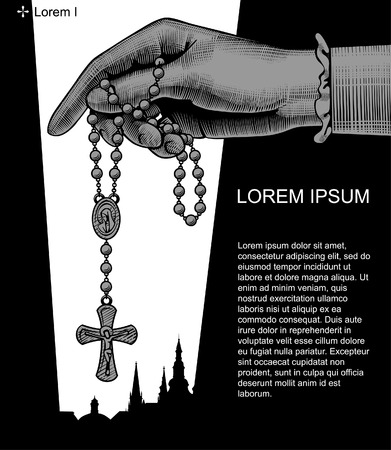 Catholic publication teamplate design with woman's hand holding prayer beads. Vintage engraving stylized drawing. Vector illustration