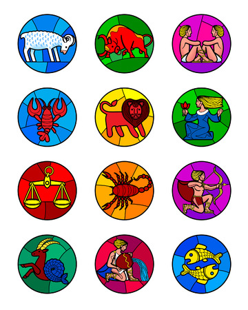Round icon set of colorful zodiac symbols isolated on white. Horoscope icons in stained-glass window style. Vector illustration