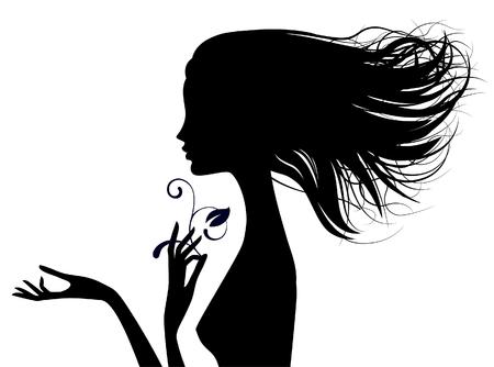 Zwart silhouet van fijn meisje hoofd half gezicht met losse haren. Vector illustratie