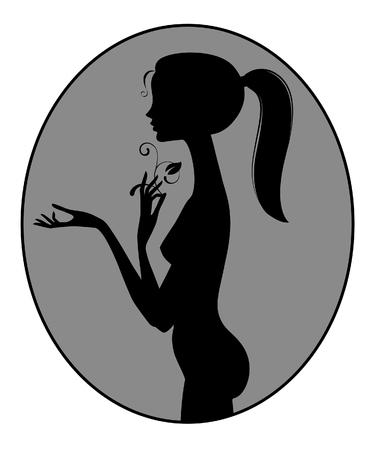 Black silhouette of fine naked girl standing in profile in the oval and holding a flower. Vector illustration