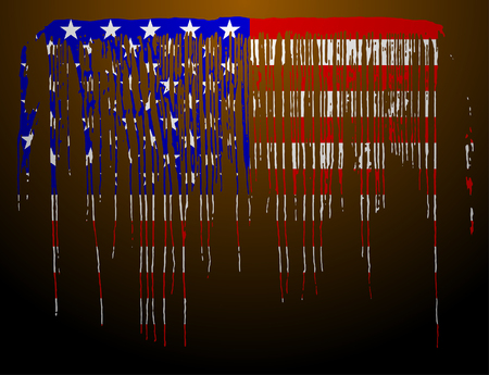 American flag in flowing paint shape. Vector illustration 向量圖像