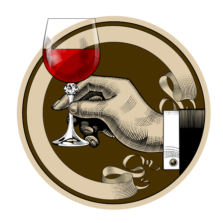 Round brown retro label with ribbon and man's hand holding a glass with red wine. Vintage engraving stylized drawing. Vector illustration