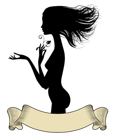 Black silhouette of fine naked girl standing in profile with loose hair and vintage banner. Vector illustration Illustration