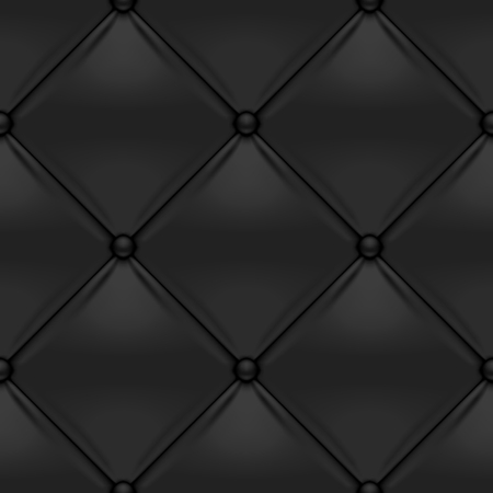 Black button-tufted leather background. Black upholstery seamless pattern. Vector illustration.