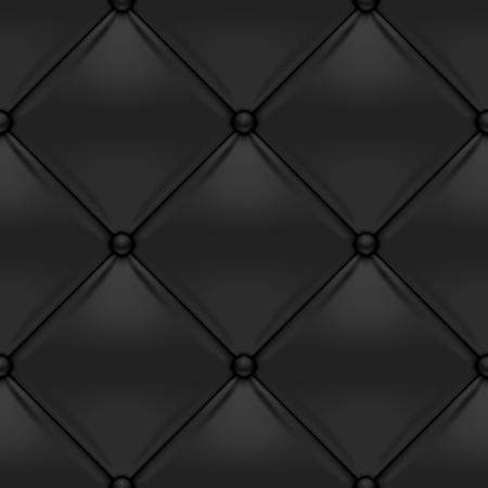 Black button-tufted leather background. Black upholstery seamless pattern. Vector illustration. Illustration