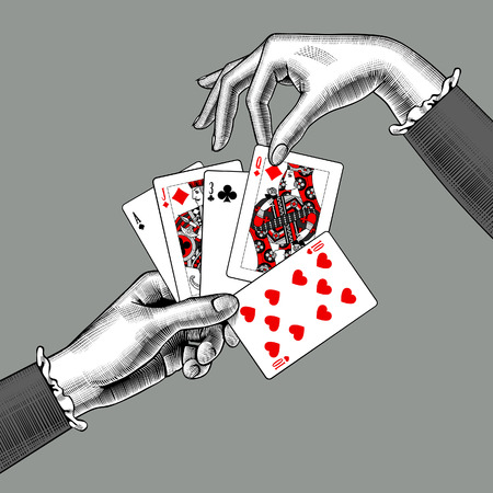 Woman's hands with playing cards fan. Vintage engraving stylized drawing. Vector illustration 스톡 콘텐츠 - 104237227