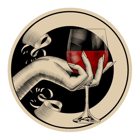 Etiqueta retro marrón redonda con cinta y mano de mujer sosteniendo un vaso con vino tinto. Dibujo estilizado de grabado vintage. Ilustración vectorial