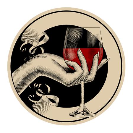 Rond bruin retro etiket met lint en vrouwenhand die een glas met rode wijn houden. Vintage gravure gestileerde tekening. Vector illustratie