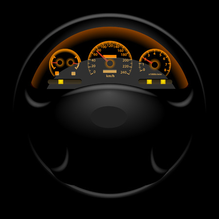 Car dashboard and steering wheel on black. Vector illustration.