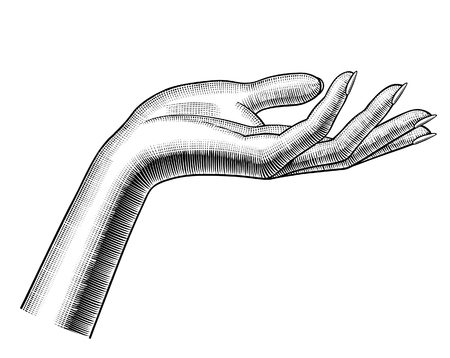 Womans hand stretching palm up. Vintage engraving stylized drawing. Vector illustration Illusztráció