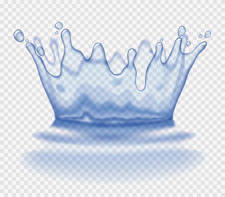 Spruzzata d'acqua trasparente e corona. Illustrazione vettoriale Vettoriali