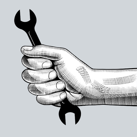 Man's hand holding wrench. Retro style repairs sign and icon. Vintage engraving stylized drawing. Vector illustration