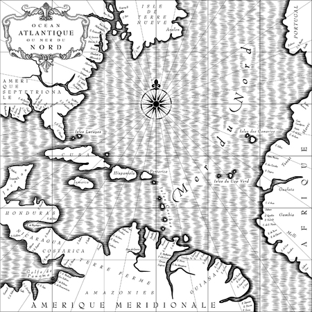 Old geographic map of Atlantic ocean region lands in a free interpretation with text. Retro chart background in black and white. Vintage engraving stylized  drawing. Vector Illustration