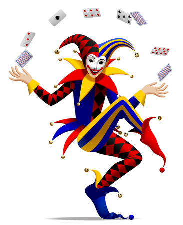 Joker with playing cards. Three dimensional stylized drawing. Vector illustration
